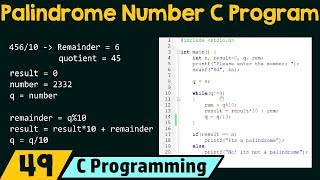 Special Programs in C − Check If The Number Is Palindrome Number