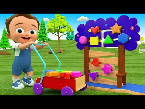 Colors & Shapes for Children to Learn with Little Baby Fun Play Wooden Shapes Toys 3D Kids Education