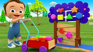 Learn Colors & Shapes for Children with Little Baby Fun Play Wooden Shapes Slider Toys 3D Kids Edu