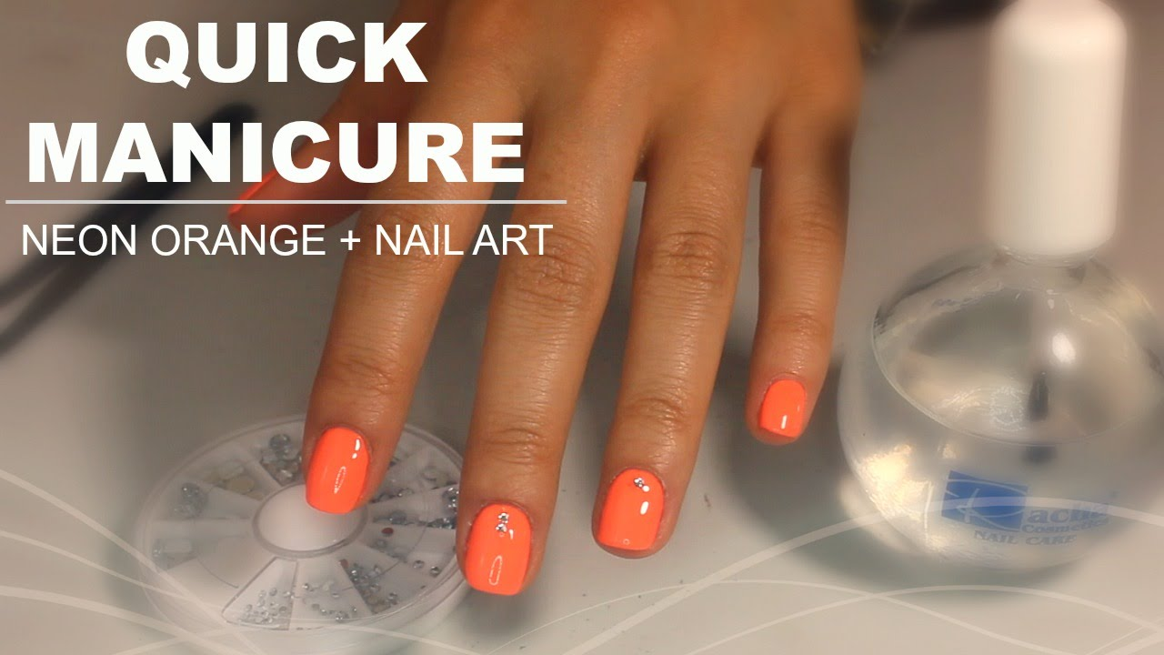 Quick Manicure at Home| Neon Orange + Nail Art - YouTube