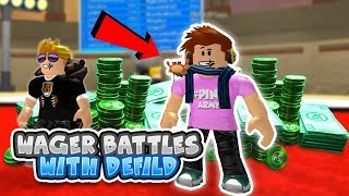 (Robux Giveaway If You Win) WAGER BATTLES WITH DEFILDPLAYS - Roblox Pokemon Brick Bronze