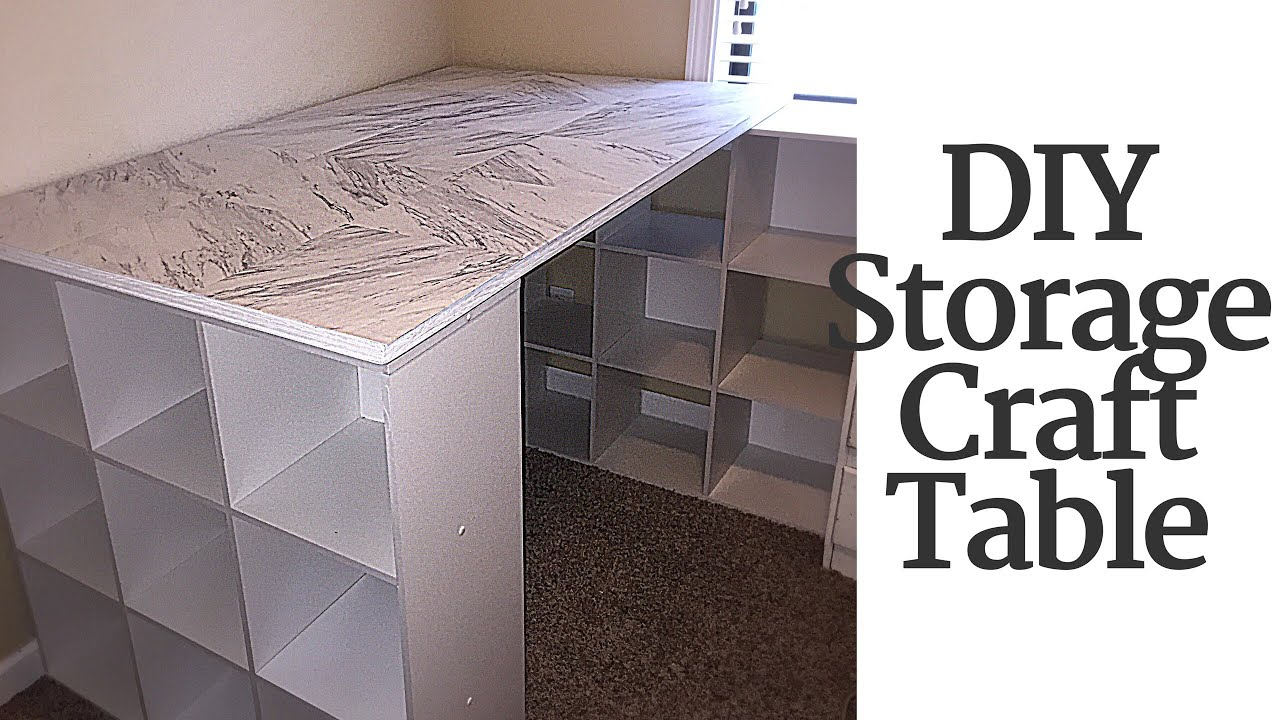 DIY CRAFT TABLE WITH STORAGE - YouTube
