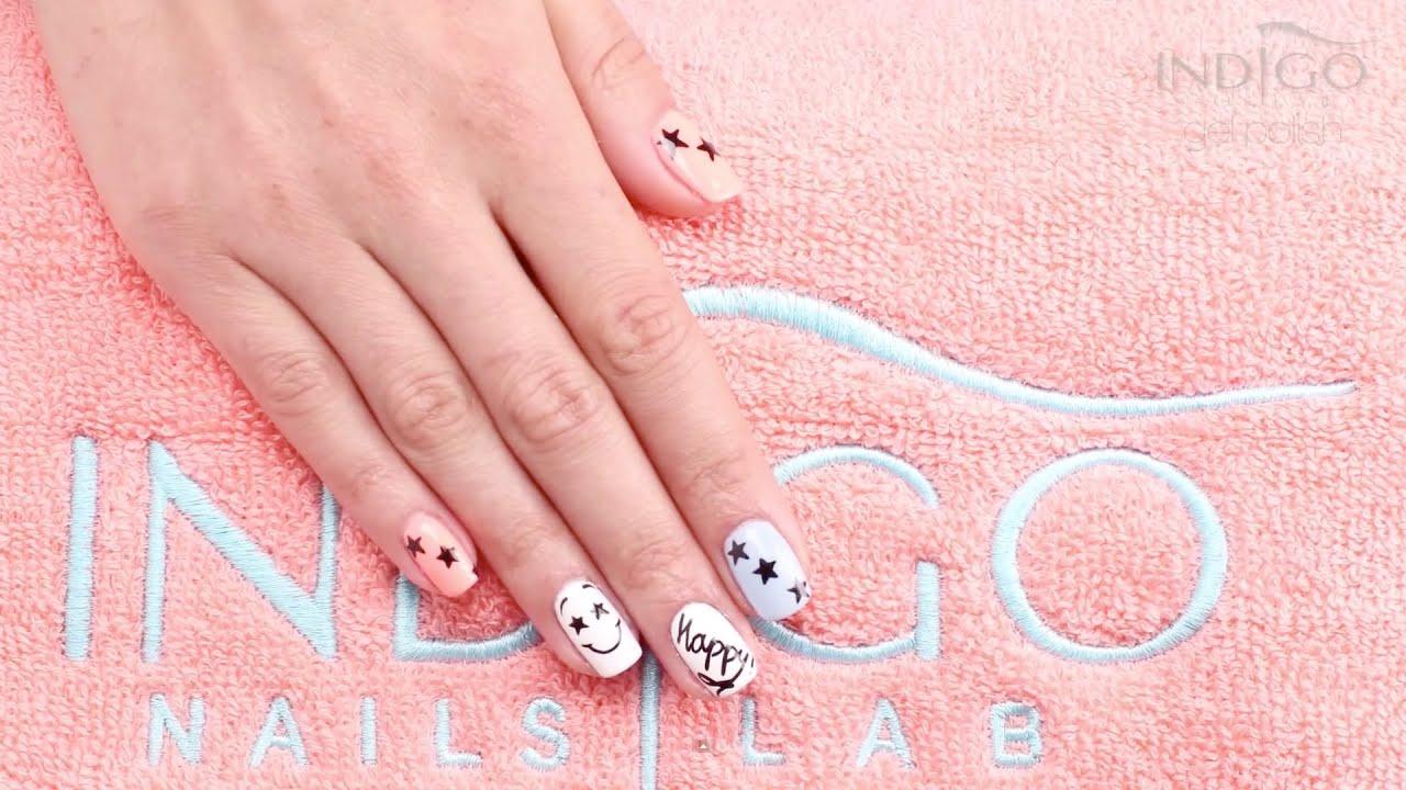 Indigo Nail Art Happy - YouTube