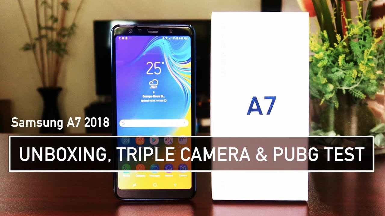 samsung a7 2018 unboxing triple camera pubg test. Black Bedroom Furniture Sets. Home Design Ideas