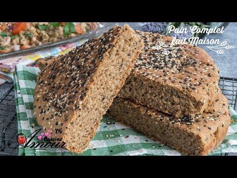 pain complet fait maison, khobz dar à la farine complète sans pétrissage