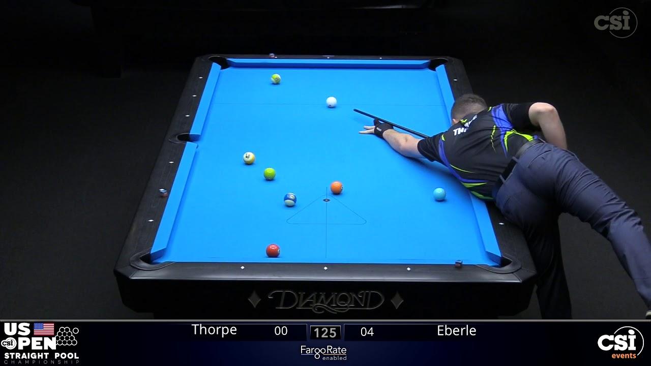 STRAIGHT POOL: Billy Thorpe vs Max Eberle | 2019 US Open Straight Pool Championship