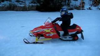Jayden Riding his Polaris 120 Snowmobile at 2 years 10 months old in Wisconsin