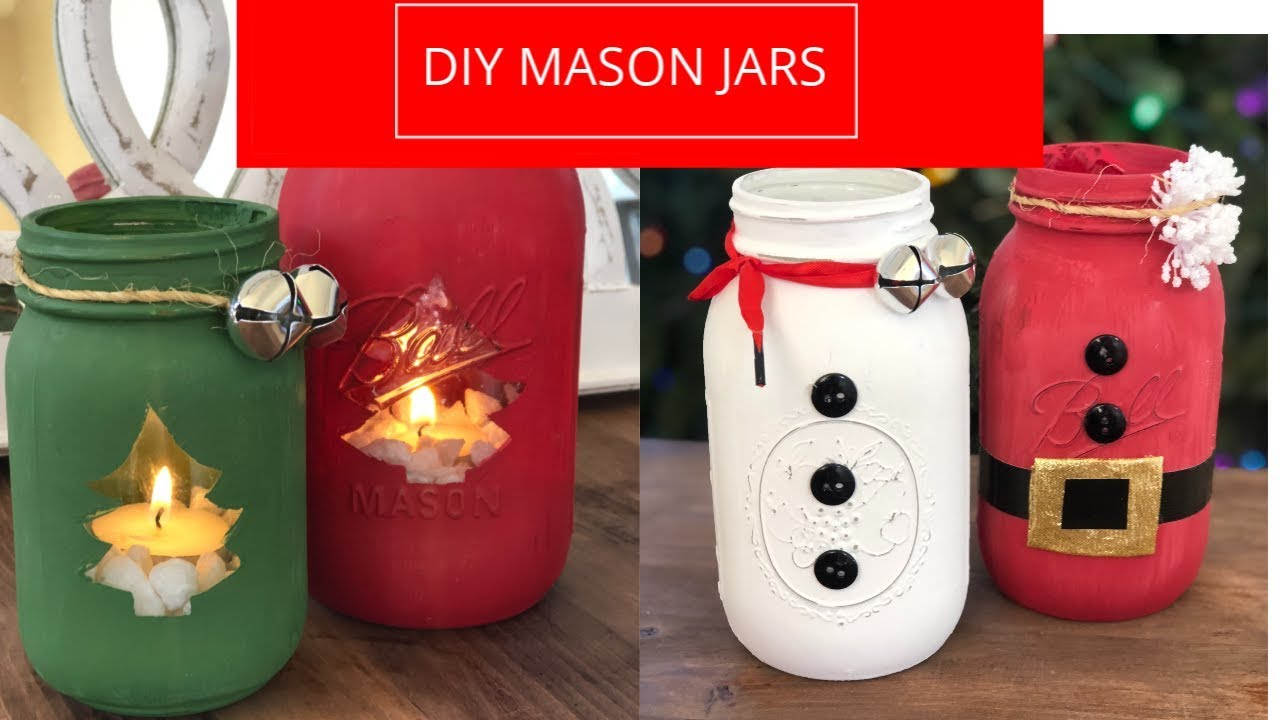Diy Holiday Mason Jars Santa Snowman Christmas Tree Candy Cane Snowy Frost Youtube