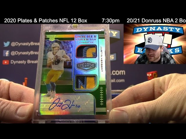 2020 Plates and Patches Football Card 6 Box Half Case Break #1   Sports Cards