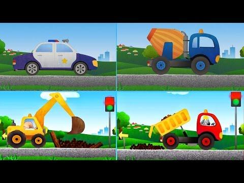 Мультфильмы Грузовая машина, полицейская машина, экскаватор,трактор Мультик игра для детей