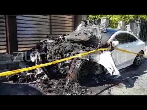 Piața Chiliei. Mașină de lux incendiată în Constanța. Pare a fi o reglare de conturi