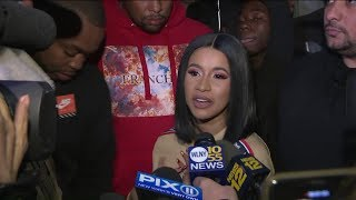 Cardi B hands out coats, shoes in Brooklyn
