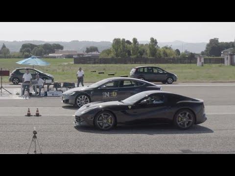 Tesla Model S P100D vs Ferrari F12 1/4 Mile Drag Race!