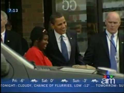 Obama Visits Moulin De Provence in Ottawa and buys a cookie