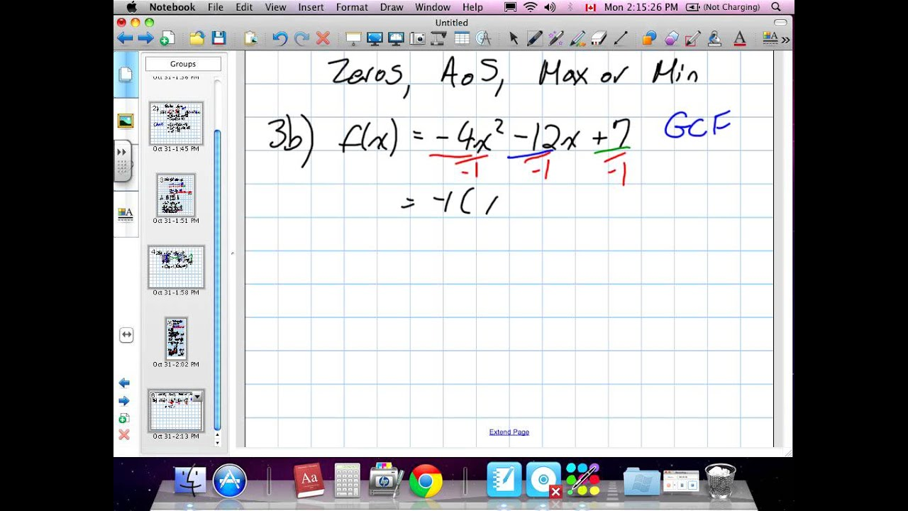 Working with Quadratic Functions Grade 11 mixed Chapter 3 Review