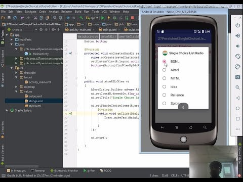 28 Android app development tutorial for beginners | Alert Dialog Persistent Single Choice Radio
