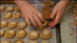 Hand making a Jap round almond and nougat biscuit | Roses the Bakers