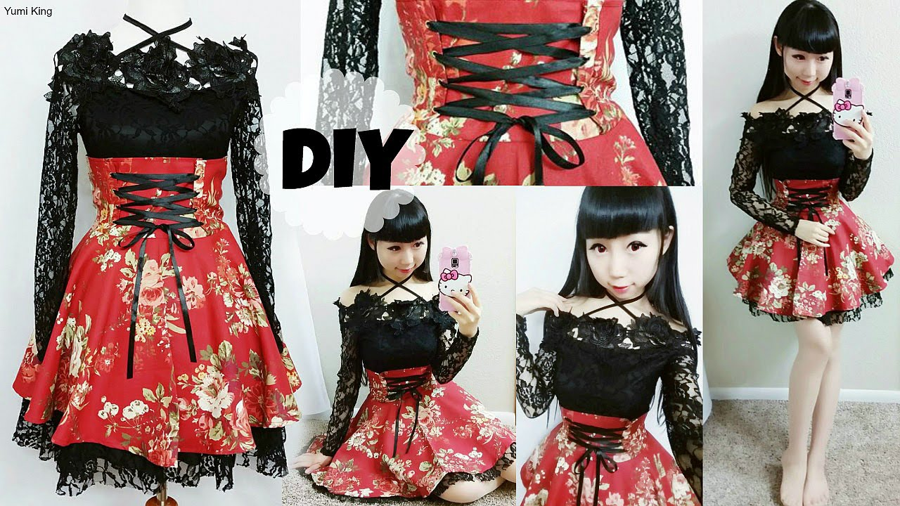 909c46e5e15 DIY Easy Corset Skirt Outfit   How to Apply Eyelets   Creative Designs -  YouTube