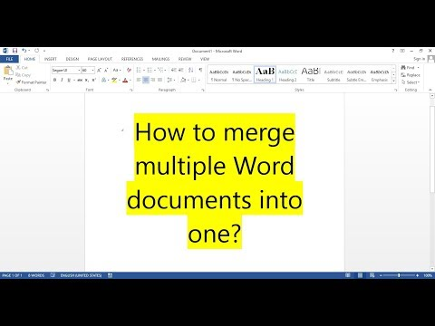 How To Merge Multiple WORD Documents Into One?