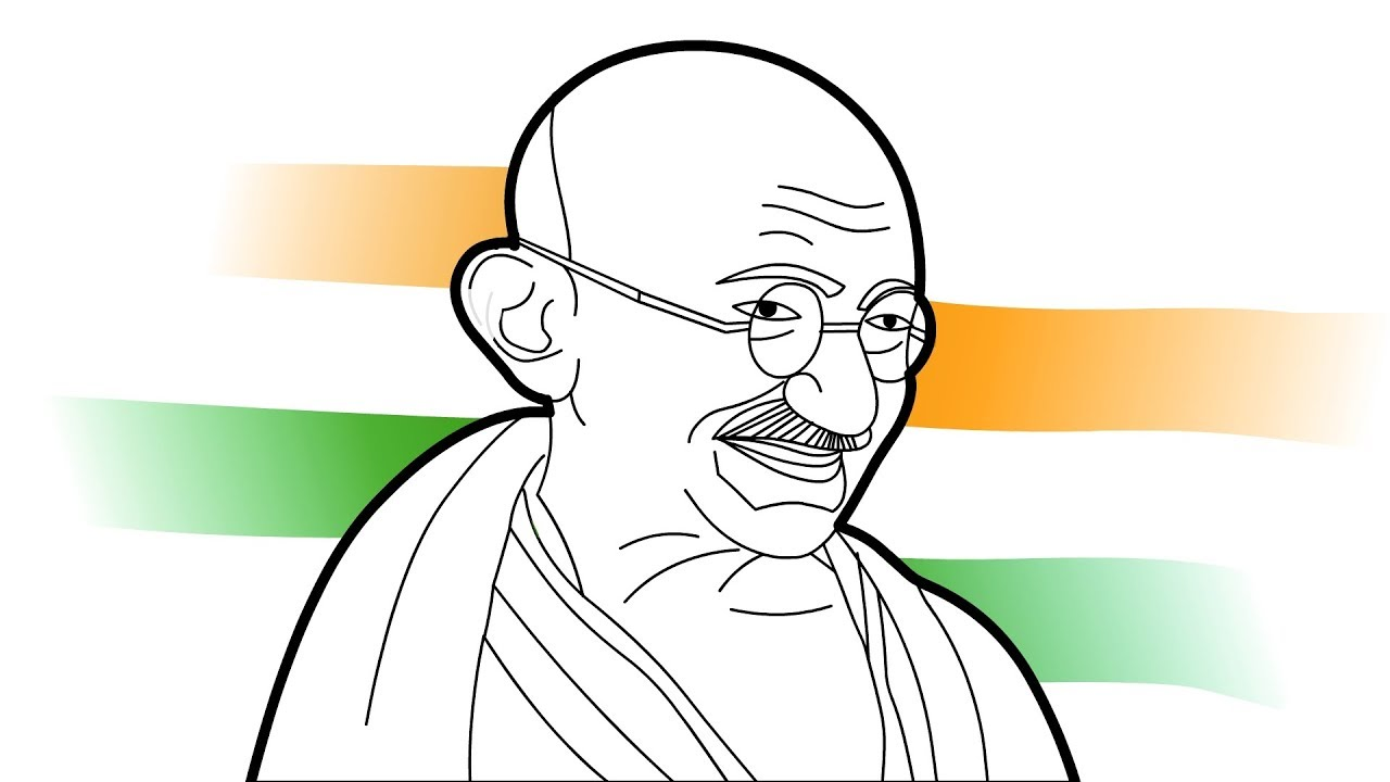 How to draw mahatma gandhi easy drawing step by step drawing for beginners