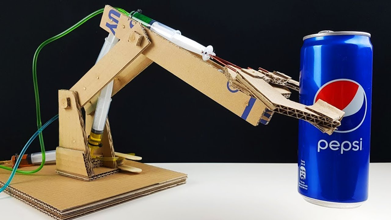 Simple Hydraulic Robotic Arm Designs : How to make hydraulic robotic arm from cardboard youtube