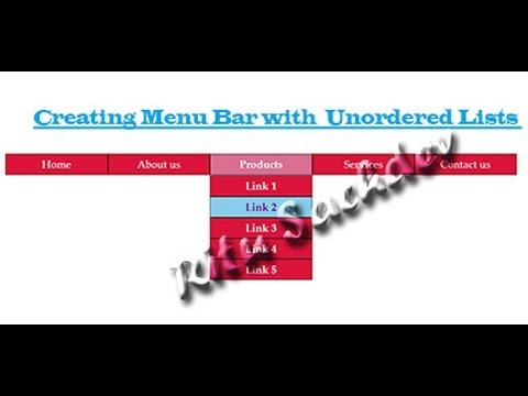 Menu Bar Containing subitems ,With Unordered List inside Css