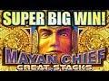 ★SUPER BIG WIN! GREAT STACKS★ MAYAN CHIEF $3.20 MAX BET SUPER FREE GAMES Slot Machine Bonus (KONAMI)