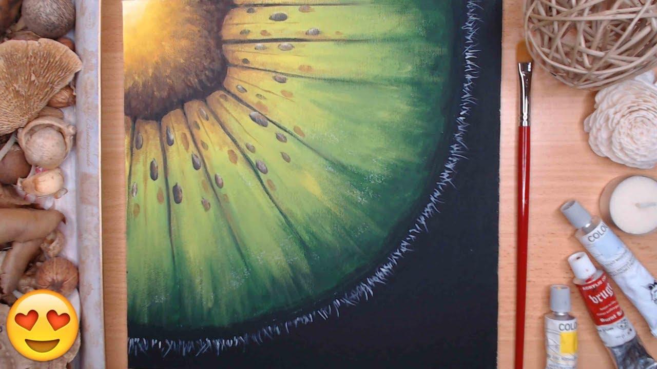 PICTURA Acrilica cu Fructe ⭐KIWI🌞 Lectie pentru Incepatori | Vreau sa invat sa pictez !