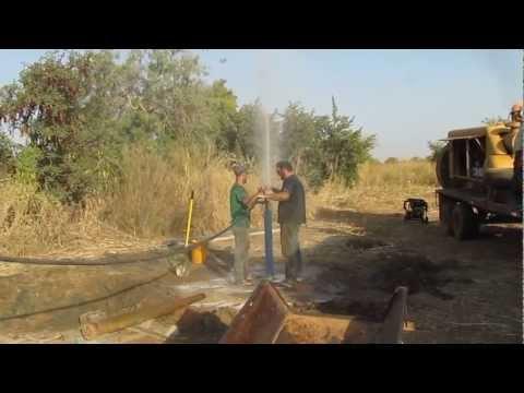 Volunteer Team Drilling Water Wells in Burkina Faso (raw footage)
