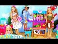 Barbie Girl and Baby Doll Grocery Shopping with Pink Car!