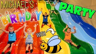 Michael's 4th Birthday at a HUGE Indoor Play Center! Super Bee Friend Fun!!
