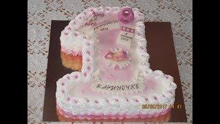 Торт единичка для девочки.Торт на Годик.Украшение торта.