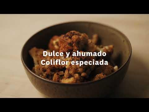 Thumbnail to launch Sweet & Smokey Spiced Cauliflower Spanish video