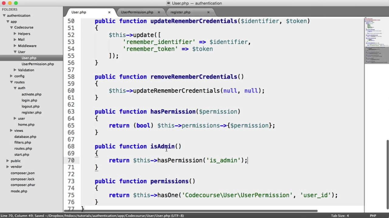 PHP Authentication: User Permissions (26/30)