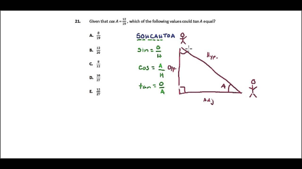 ACT Math Practice, Question 21: Trig Fundamentals - YouTube
