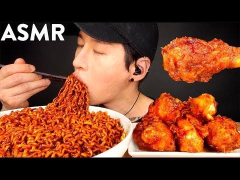 ASMR BLACK BEAN FIRE NOODLES & BBQ CHICKEN MUKBANG (No Talking) EATING SOUNDS | Zach Choi ASMR