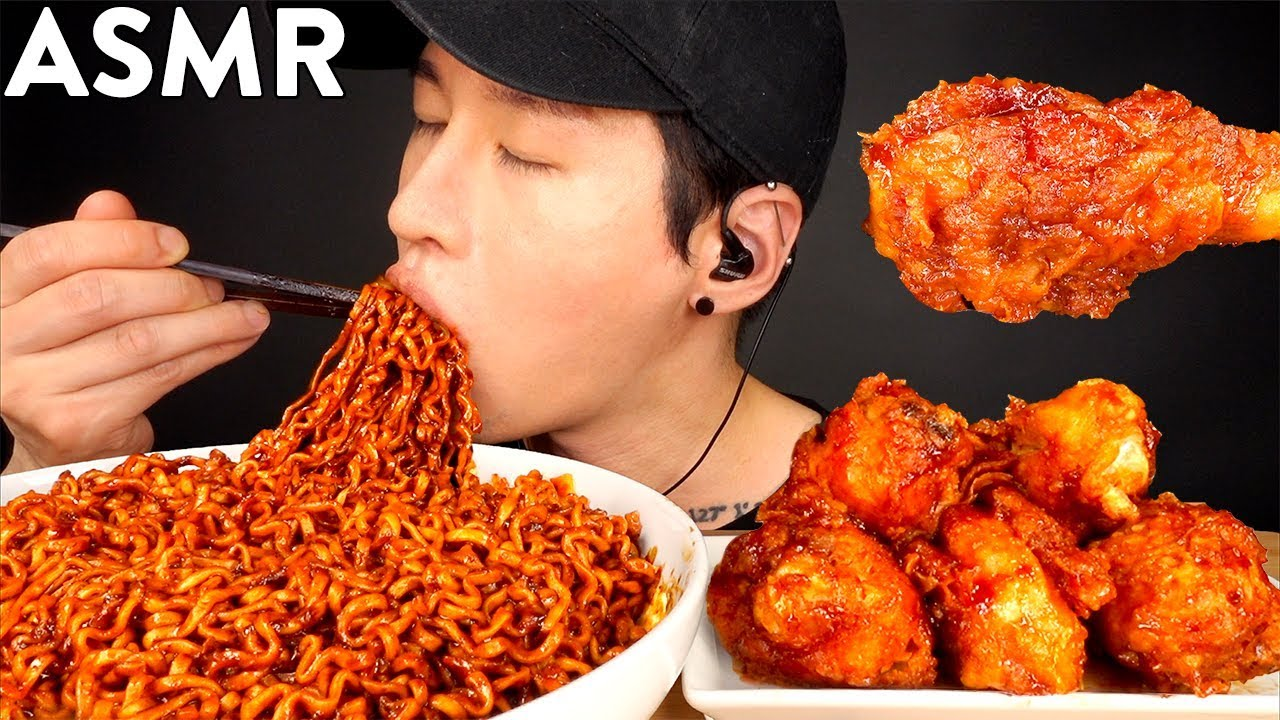 Download ASMR BLACK BEAN FIRE NOODLES & BBQ CHICKEN MUKBANG (No Talking) EATING SOUNDS   Zach Choi ASMR