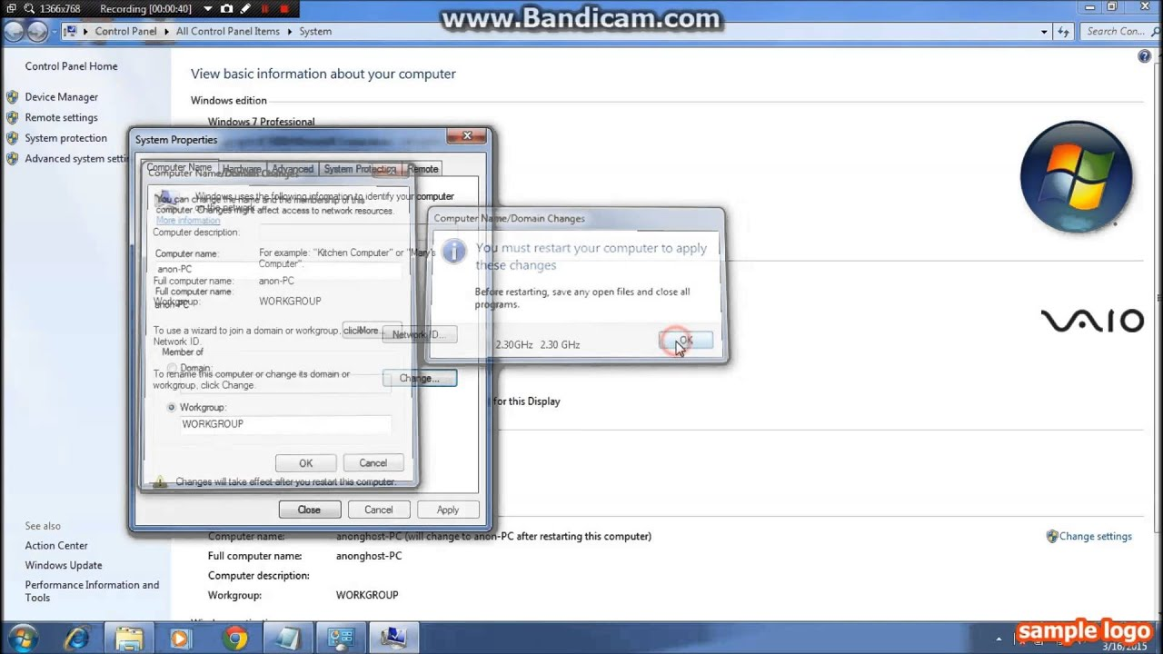 How to change the computer name in Windows 7 and 8