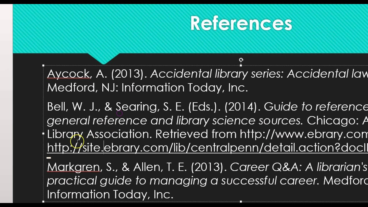 list of references example