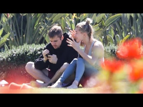 Justin Bieber Looks Upset While Seemingly Arguing With Wife Hailey Baldwin In A Park  Pics