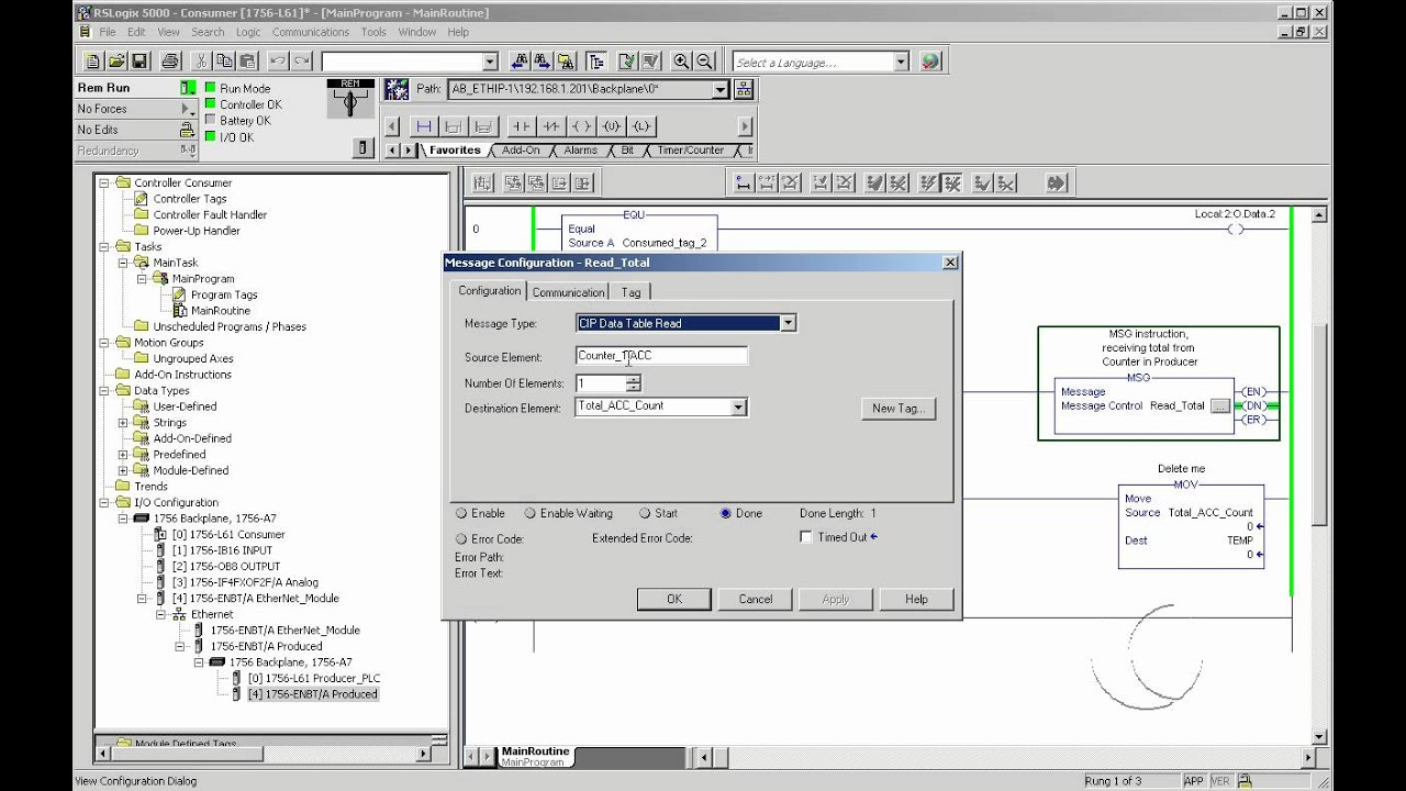 How to set up a Message (MSG) instruction in RSLogix5000