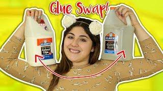 SLIME GLUE SWAP   USING CLEAR GLUE IN WHITE GLUE RECIPES   Slimeatory #220