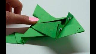 Оригами Лягушка - Игрушка из бумаги Поделки для детей своими руками/как сделать прыгающую лягушку?