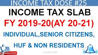 INCOME TAX SLAB FY 2019-20 AY20-21 FOR INDIVIDUAL,SENIOR CITIZEN,HUF,NRI,Rebate 87A,Income Tax2019
