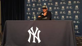 Yankees' Aaron Boone reacts to clinching playoff berth