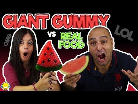 Download Youtube: Real Food VS Gummy Food! Gross Giant Candy Challenge! Gominolas gigantes vs comida real
