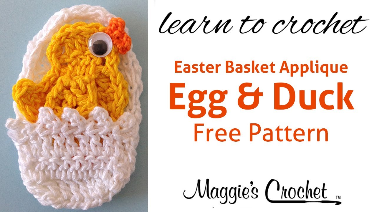 Easter Egg And Duck Applique Free Crochet Pattern Right Handed