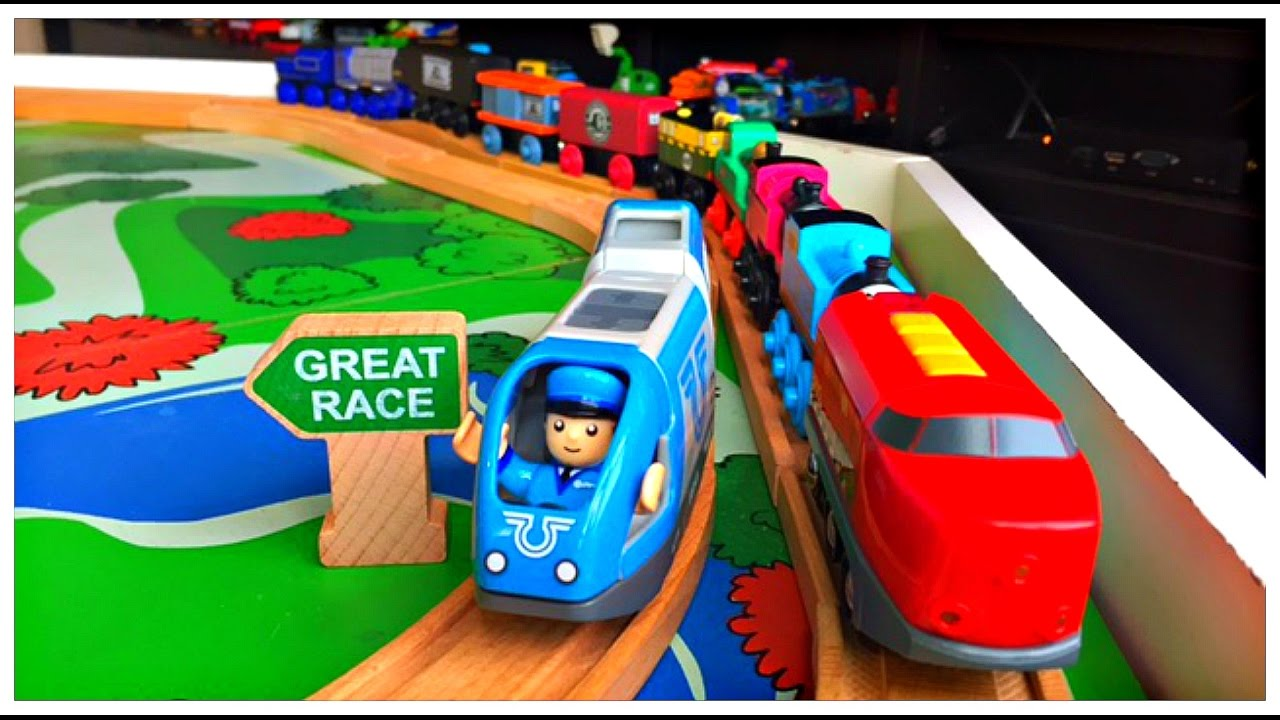 Brio Trains Pull Thomas and Friends The Great Race Wooden Railway Engines! Playing with Trains!