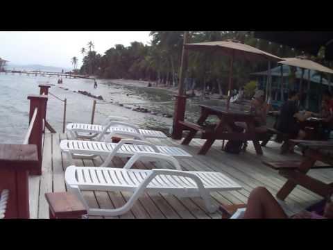 Beach terrace at BB's bar restaurant on Carenero Island, Panama