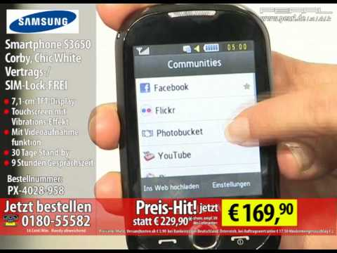Samsung Smartphone S3650 Corby, Chic White Vertrags-/SIM-Lock-FREI
